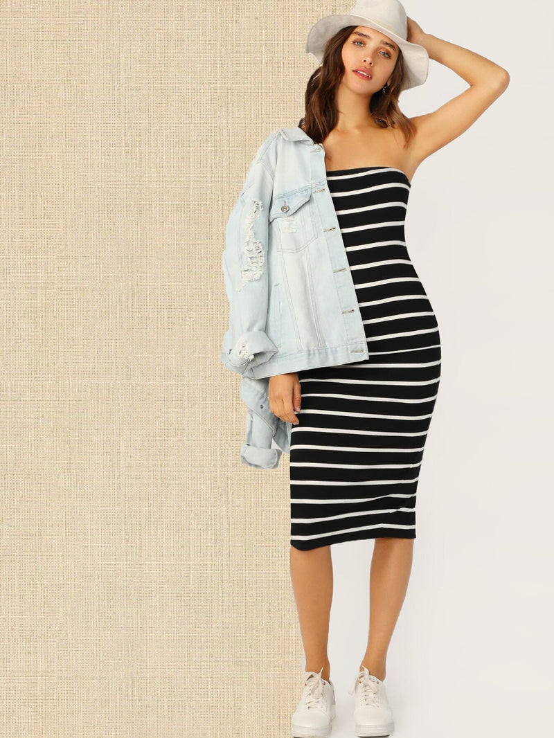 Split Back Striped Tube Dress - What's Your Chic