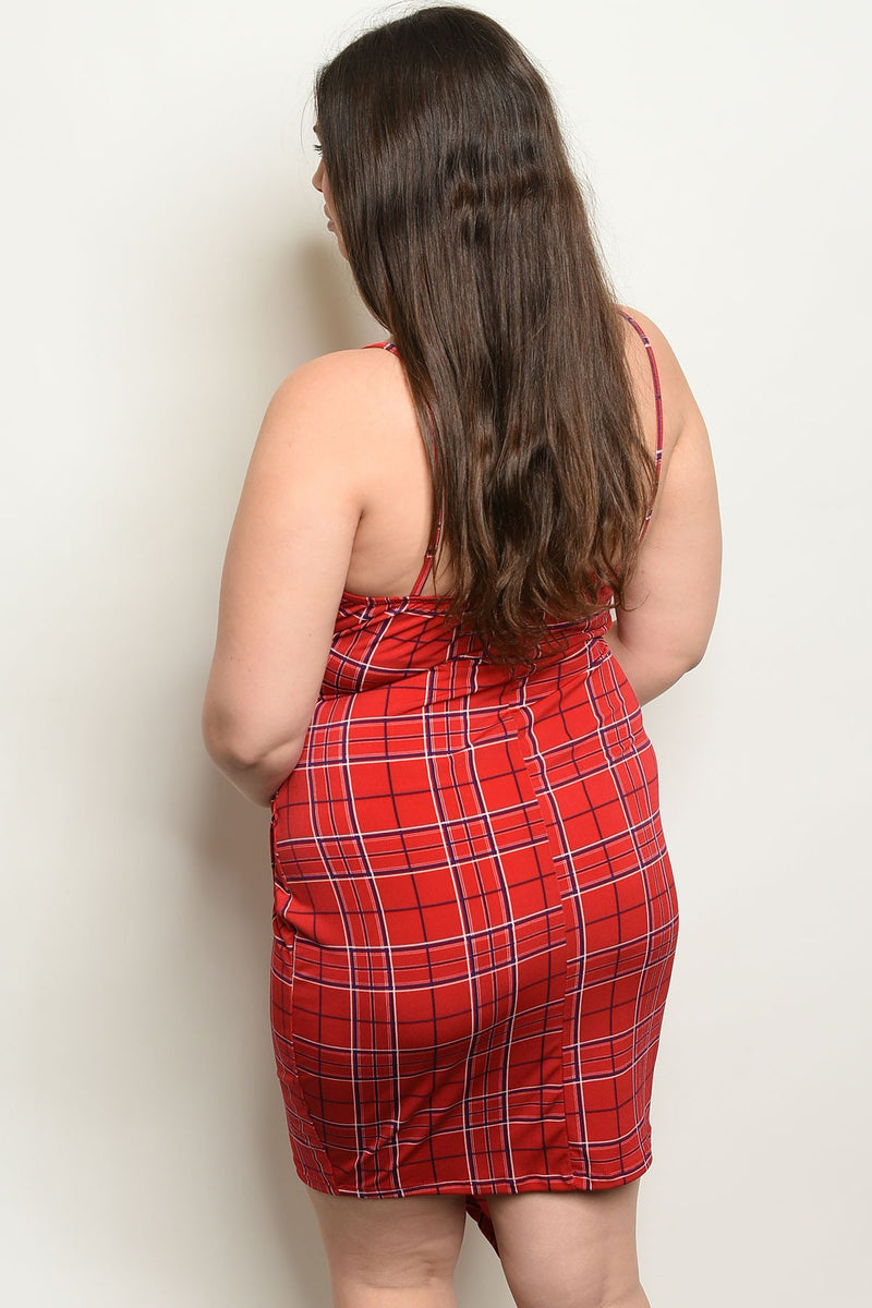 "Red plaid ""Your Type"" plus size midi - What's Your Chic"