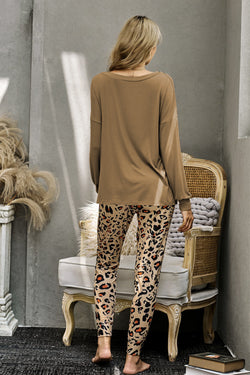 Casual Long Sleeve Leopard Pants Loungewear Set - What's Your Chic