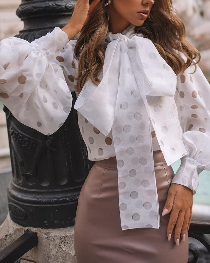 Lantern sleeve top with polka dots - What's Your Chic