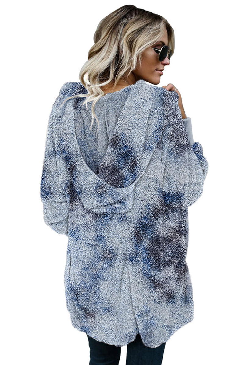 Multicolor Tie Dye Soft Fleece Hooded Open Front Coat - What's Your Chic