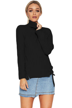 Long Sleeve Turtleneck Braided Sweater - What's Your Chic