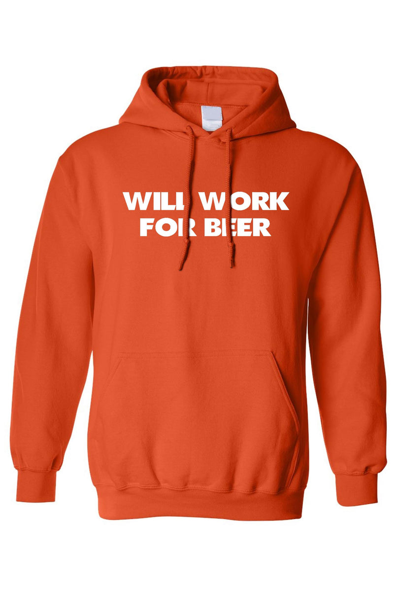 Men's/Unisex Pullover Hoodie 'Will Work for Beer' - What's Your Chic