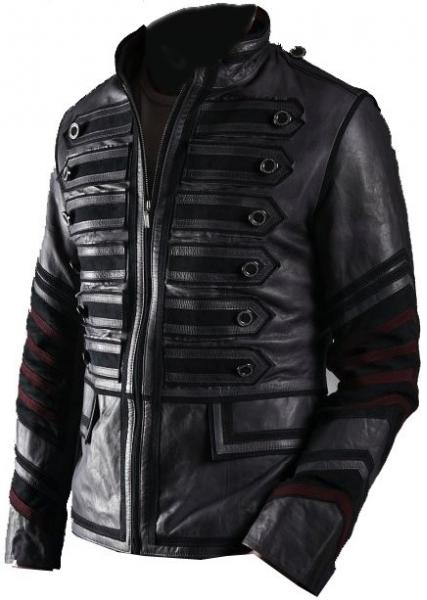 Black Military Men Leather Jacket - What's Your Chic