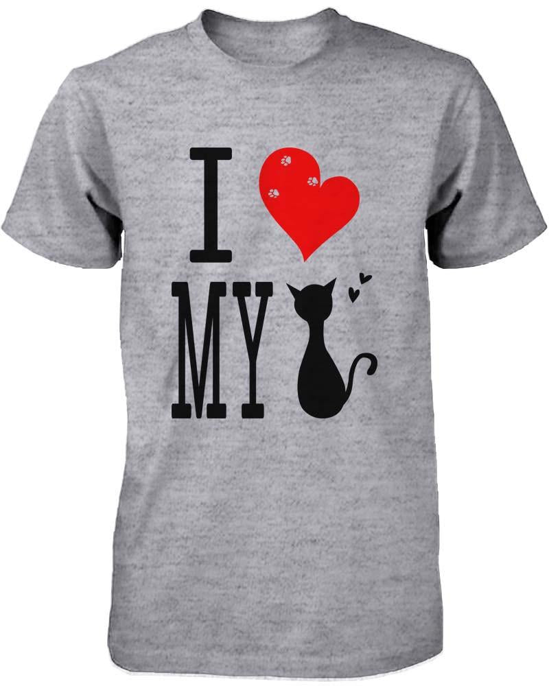 Funny Graphic Statement Women's Gray T-shirt - I Love My Cat - What's Your Chic