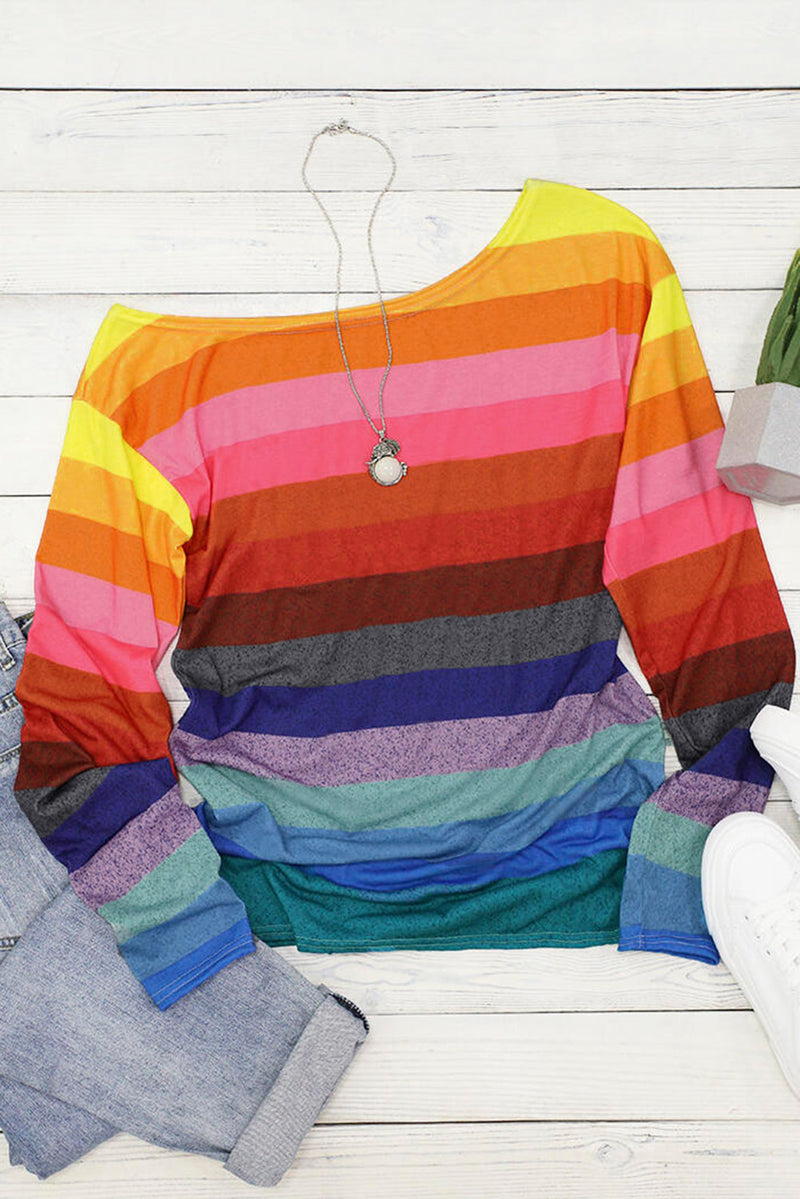 Colorful Striped Slash Neck Long Sleeve Top - What's Your Chic