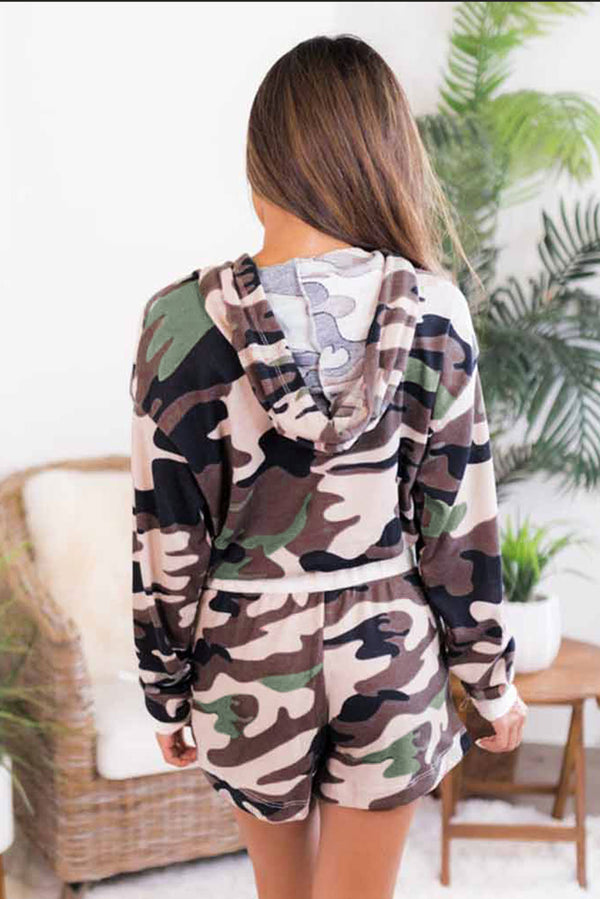 Camouflage Cropped Long Sleeve Hoodie & Drawstring Shorts Loungewear Set - What's Your Chic