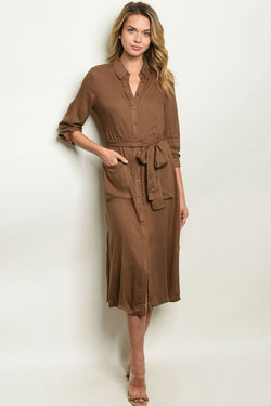 Womens Olive Dress - What's Your Chic