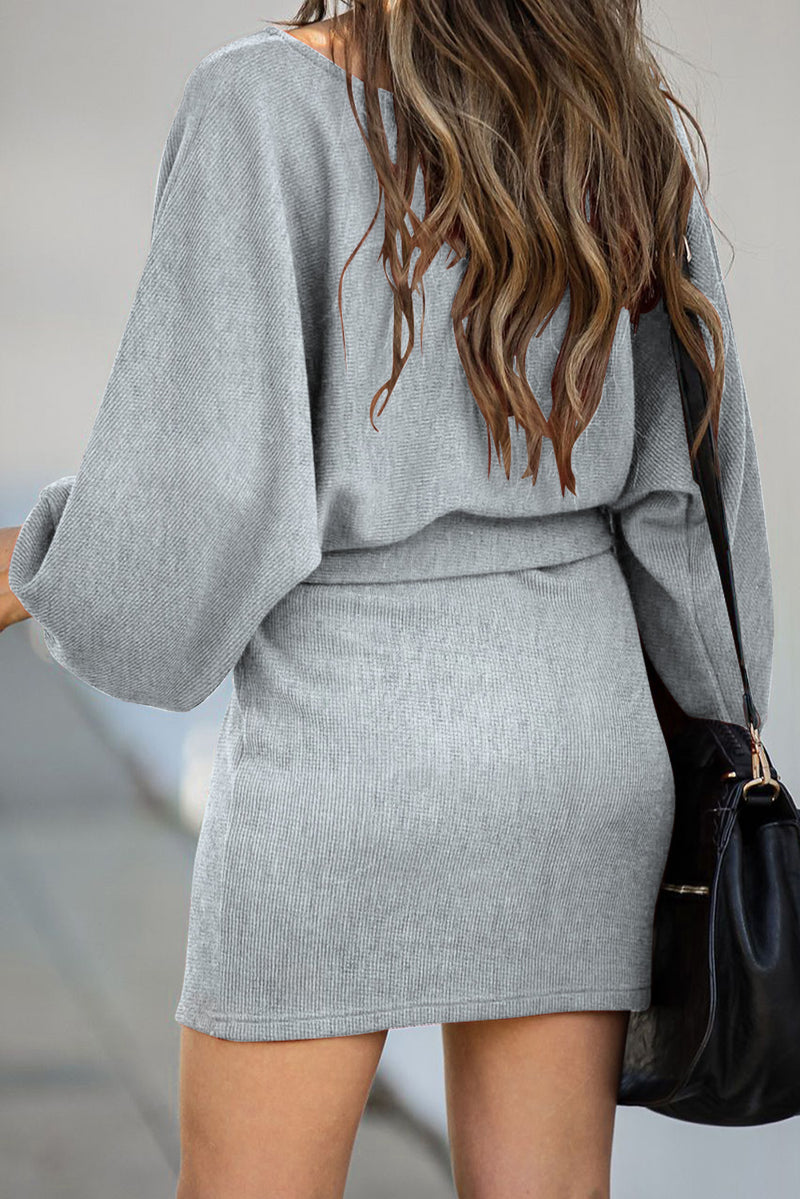 V Neck Ribbed Sweater Dress - What's Your Chic