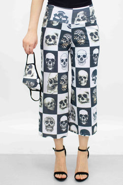 Checkered Skull Cropped Gaucho Pants and Mask - What's Your Chic
