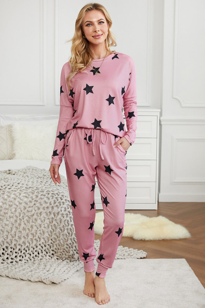 Star Print Two-Piece Set Sports Wear - What's Your Chic