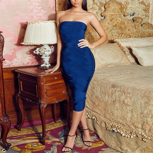 'Athens At Midnight' bandage dress in royal blue - What's Your Chic