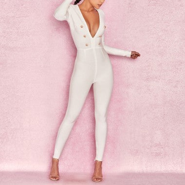 'Posh' bandage jumpsuit in white - What's Your Chic