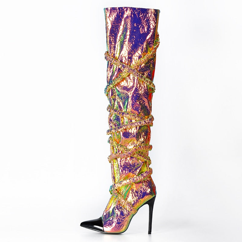Dazzled Over The Knee Boots by Pink Palms - What's Your Chic