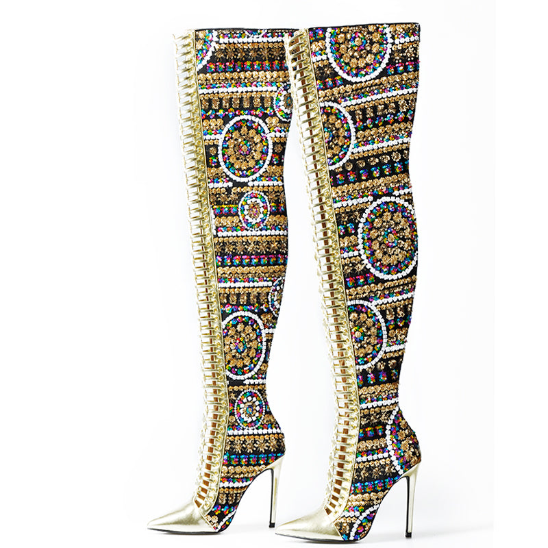 'International' Over the Knee Boots (gold sequin or plaid red) - What's Your Chic