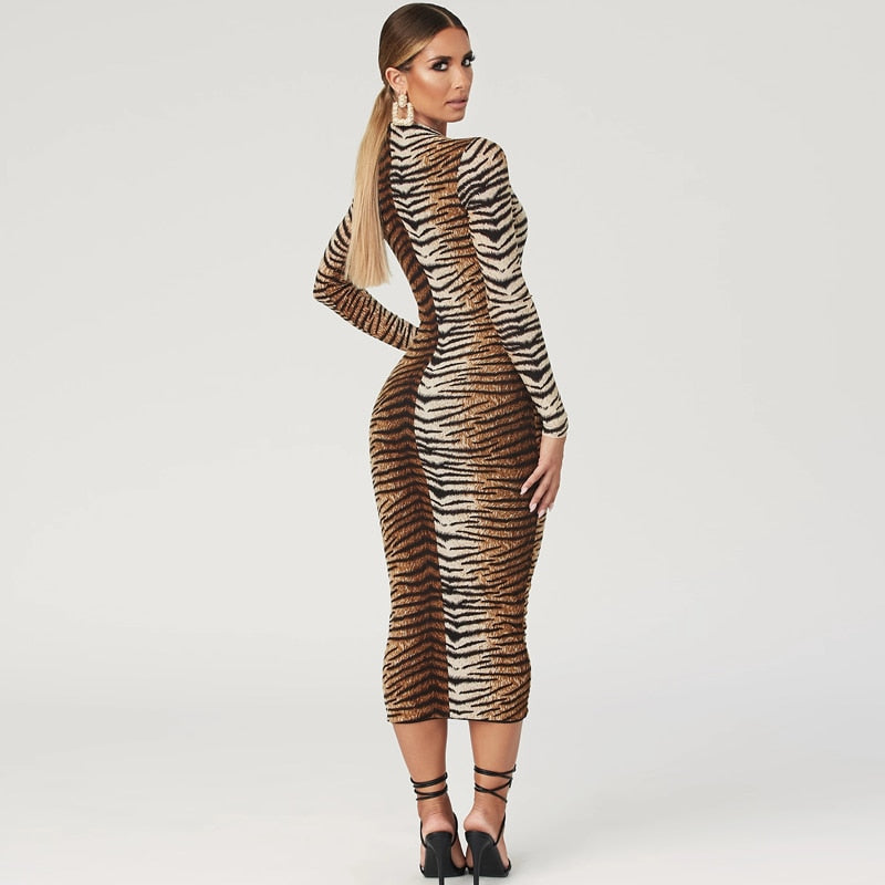 Festival animal print midi dress (tiger/ leopard) - What's Your Chic