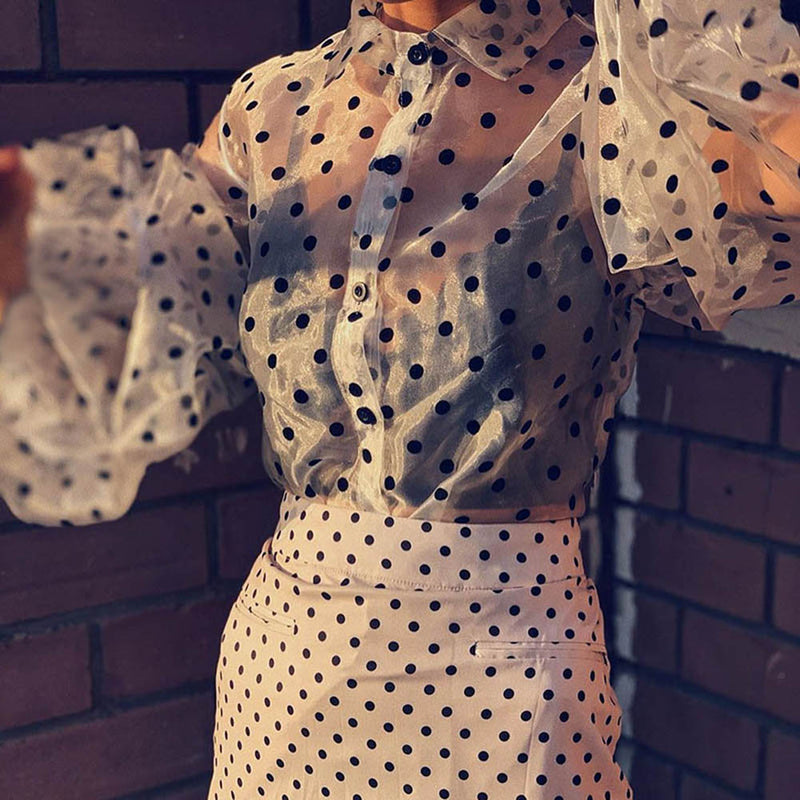 Moves mesh see-through polka dot shirt - What's Your Chic