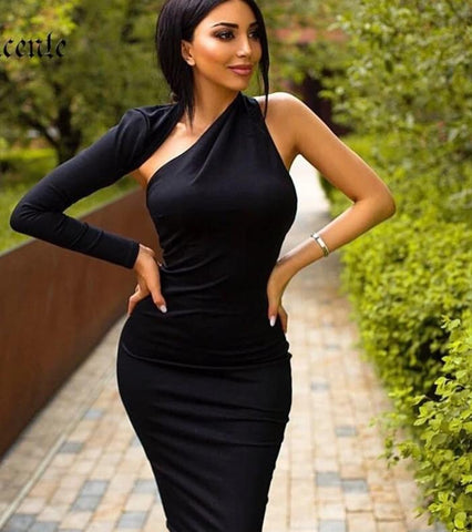 'East Wales' one shoulder bodycon