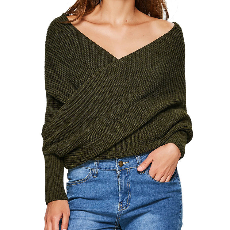 'Spill over' off shoulder wrap sweater - What's Your Chic