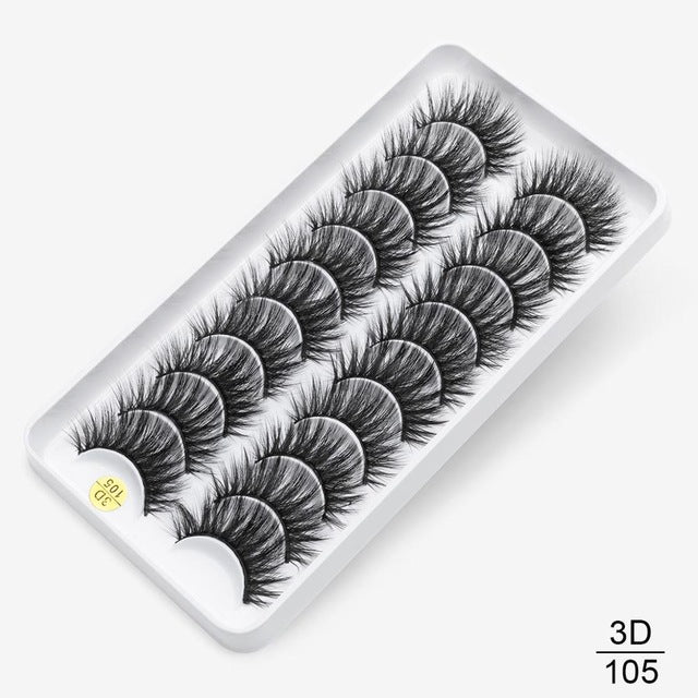 3D faux mink eyelashes -natural long (8-pair or 10-pair sets) - What's Your Chic