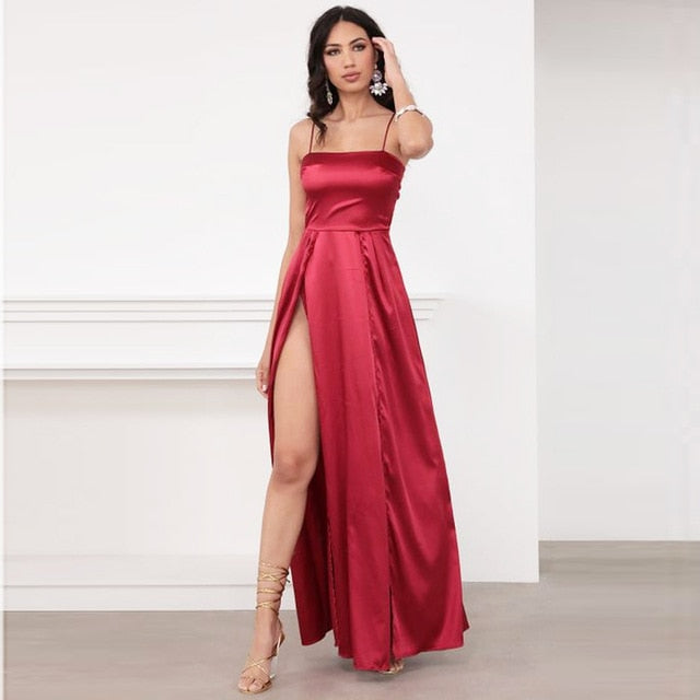 Long satin maxi (side split) - What's Your Chic