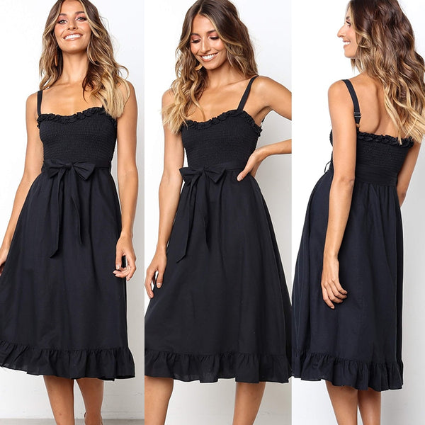 Strappy midi dress (cotton) - What's Your Chic