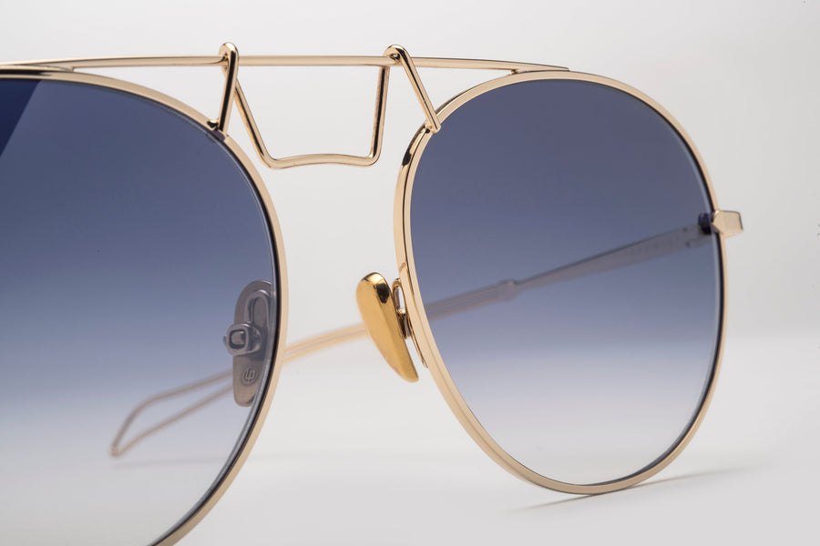 Gold CROWLEY Frames, Blue Grey Lens