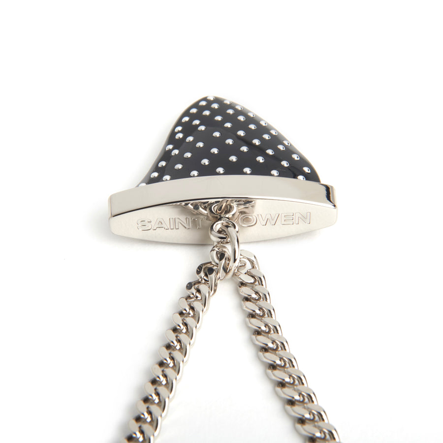 SHARKTOOTH Black Studded | Sterling Silver Chain