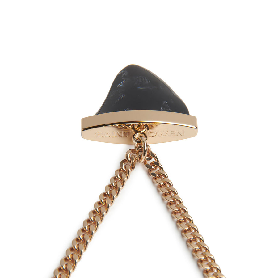 Black Swan Sharktooth Necklace, Gold Chain