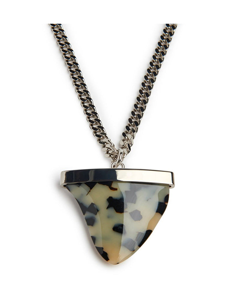 Cream Tortoise Sharktooth Necklace, Sterling Silver Chain