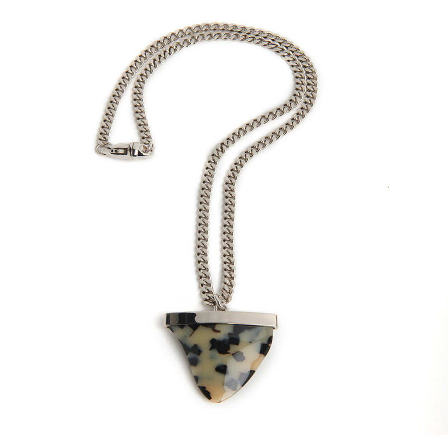 SHARKTOOTH NECKLACE Cream Tortoise | Sterling Silver Chain
