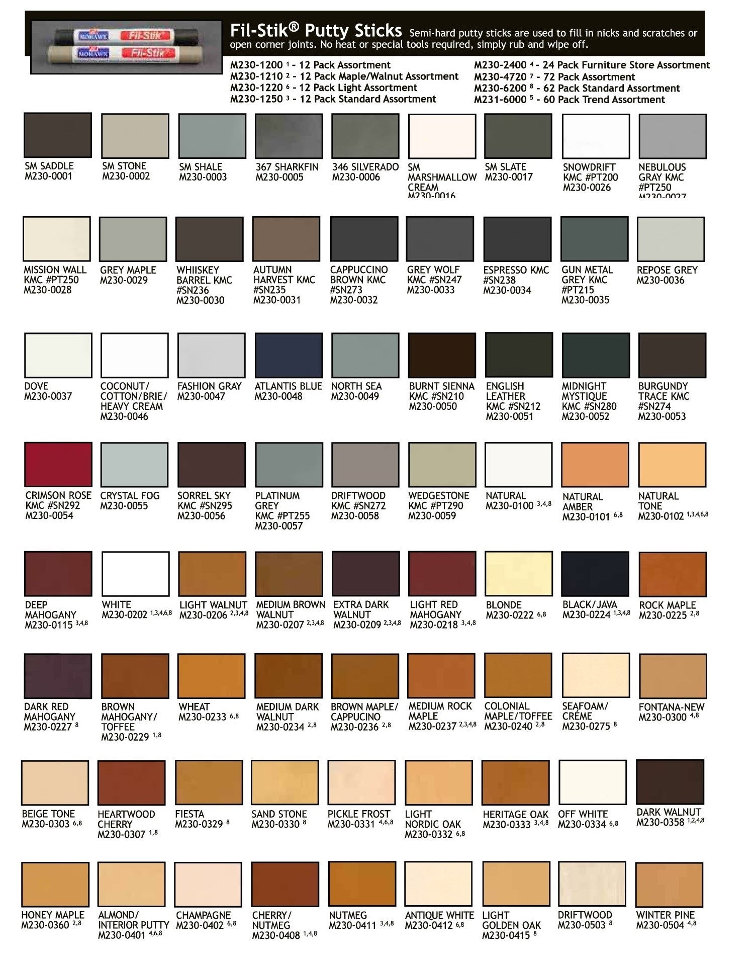 Fil stik color chart finishers warehouse fil stik color chart nvjuhfo Gallery