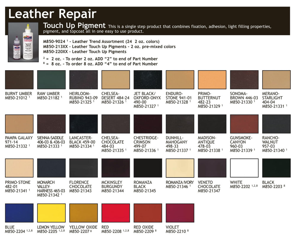 Leather Pigment Color Chart Finishers Warehouse