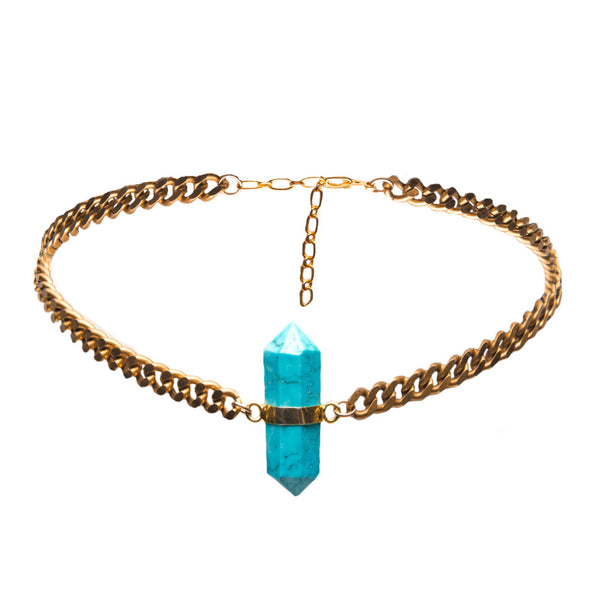 Jackson Turquoise Moto Chain Choker Necklace