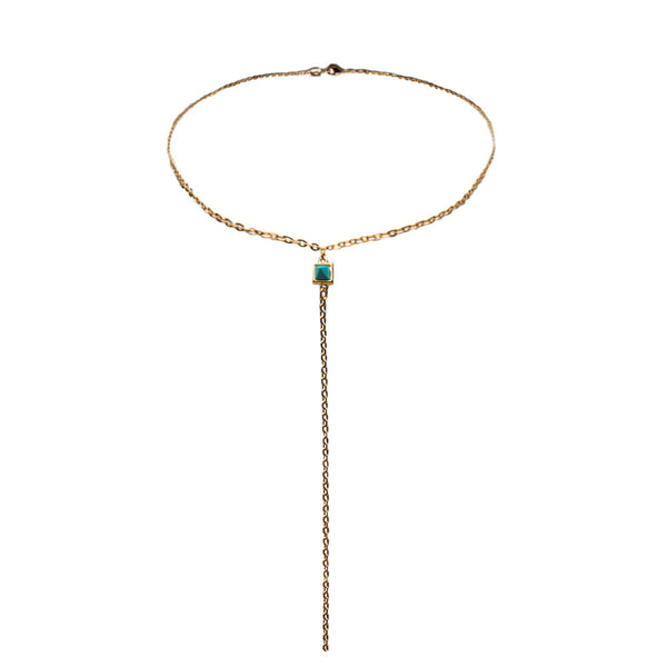 Emma Lariat Turquoise Crystal Necklace