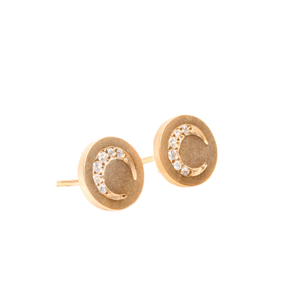 Cleo Gold Moon Post Earring