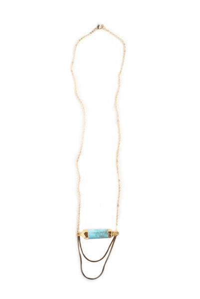 Maxwell Gold Turquoise Drop Necklace