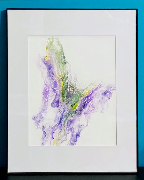 Framed Fluid Art Painting Butterfly Paint Pour Home Decor