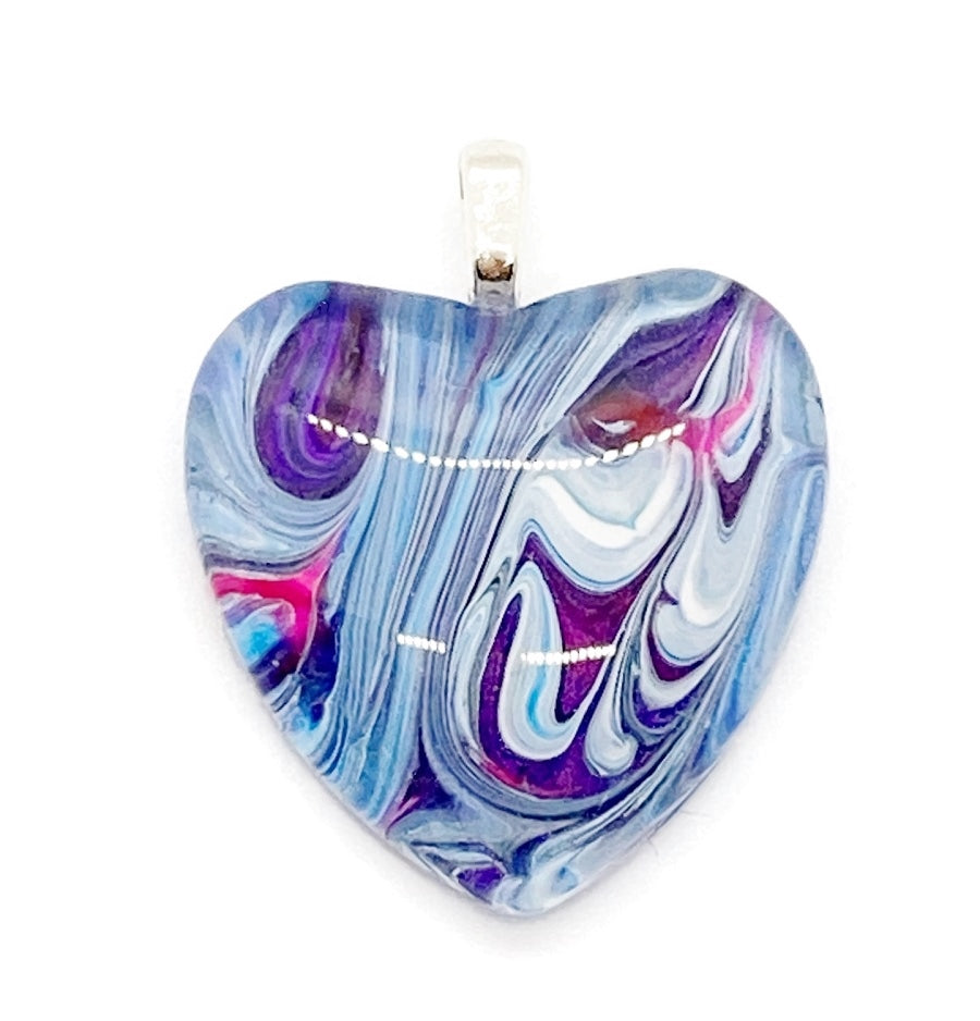 Fluid Art Heart Pendant