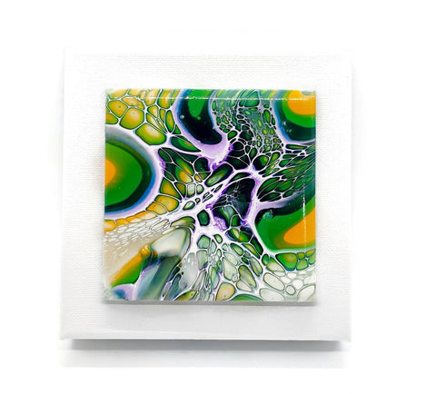 Fluid Art Tile on Canvas Wall Hanging