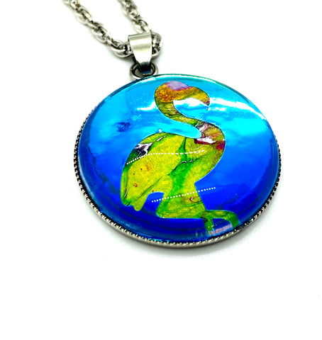 Artisan Painted Flamingo Pendant Necklace