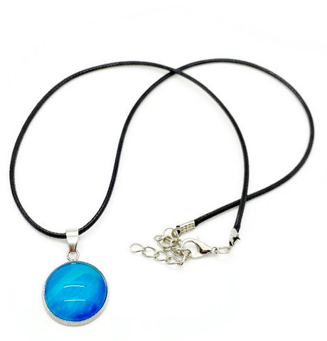 Leather Cord Artisan Painted Aqua Blue Necklace