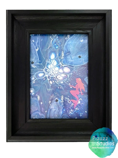 Framed Mermaid Painting Fluid Art Paint Pour Embellished Home Decor