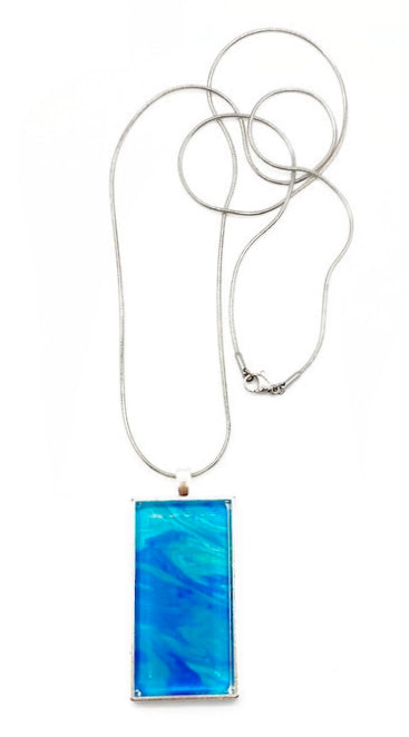 "Metallic Artisan Painted Necklace 27"" Stainless Steel Snake"