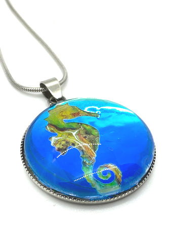 Artisan Painted Seahorse Snake Chain Necklace