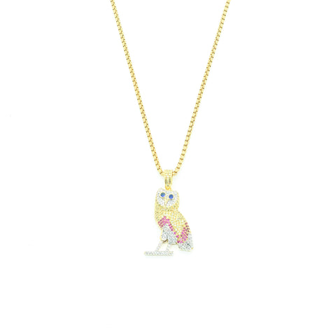 Diamond OVO Owl Necklace (Multi)