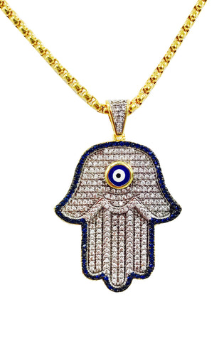 Blue Eye Hamsa Necklace