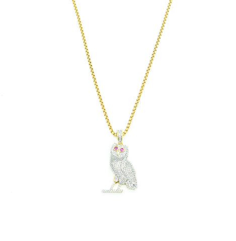 Diamond OVO Owl Necklace (Gold)