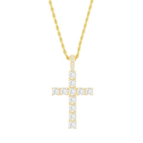 Diamond Tennis Cross Necklace