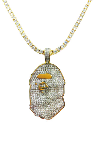 Gold Tennis Ape Necklace